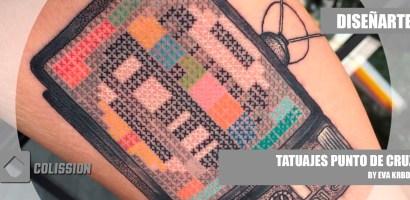Tatuajes de punto de cruz hechos por Eva Krbdk