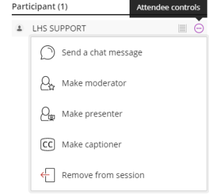Screenshot of attendee controls in Collaborate