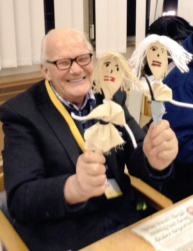 Victor, born at Gressenhall, with two of the workhouse spoon dolls