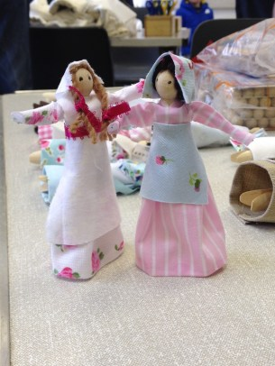 Staff and volunteers created beautiful peg dolls inspired by the workhouse dolls in the collection.