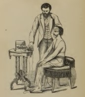 An illustration of a galvanic machine in use, taken from 'A Practical Treatise of the Medical and Surgical Uses of Electricity' published in 1871. In this case the current is passing between a wet sponge on the patient's forehead and a metal plate beneath the feet.