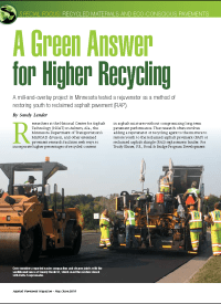 May/June 2018 edition of Asphalt Pavement magazine features Hennepin County Public Works and MnDOT materials & road research office execute a field application of Delta S asphalt rejuvenator for paving a 1.5 inches thick, dense graded wearing course containing 35% RAP content