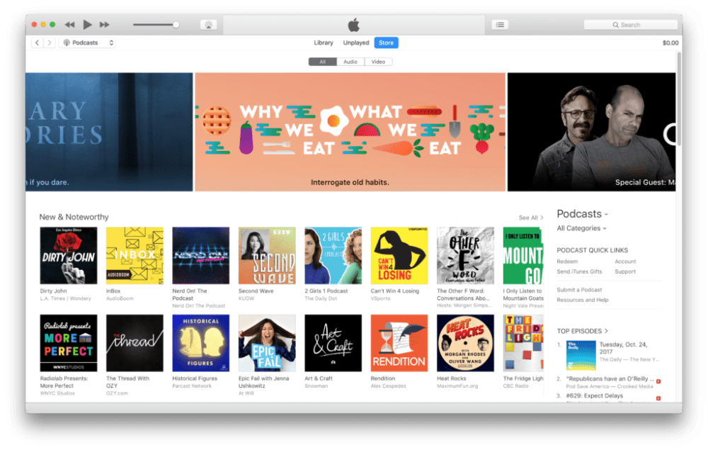 iTunes Podcast New & Noteworthy Page