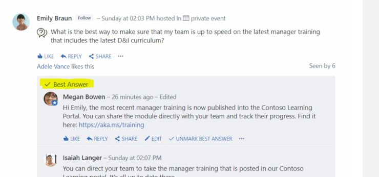 yammer answer