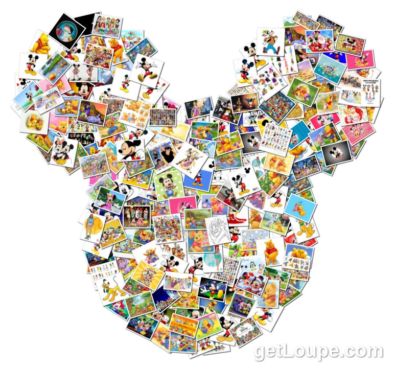 disney characters loupe collage