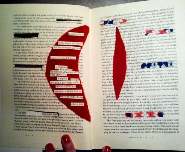 collage con telas y huecos en las páginas