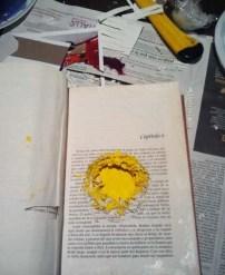 Mónica hizo un hueco en el libro para dejar ver el sol