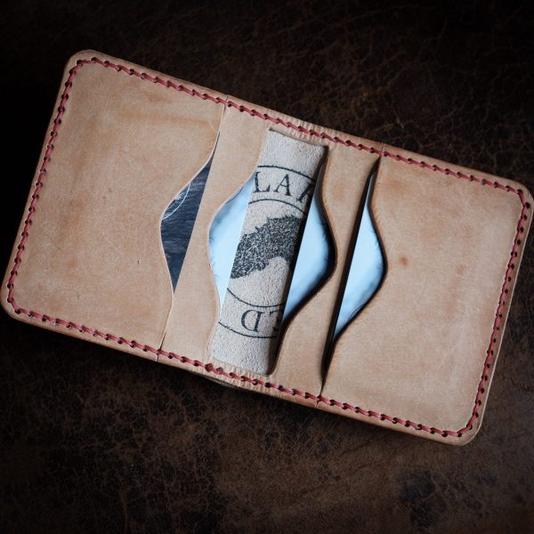 Grizedale Horizontal Leather Handmade Wallet in Badalassi Carlo Bone Natural Pueblo Leather, with red saddle stitching.