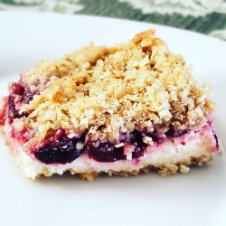 Lisa's Cherry Cheesecake Bars have a gluten free oatmeal crust and topping that is buttery bliss.
