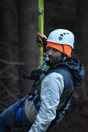 Chris Mizelle enjoys the zip-line.
