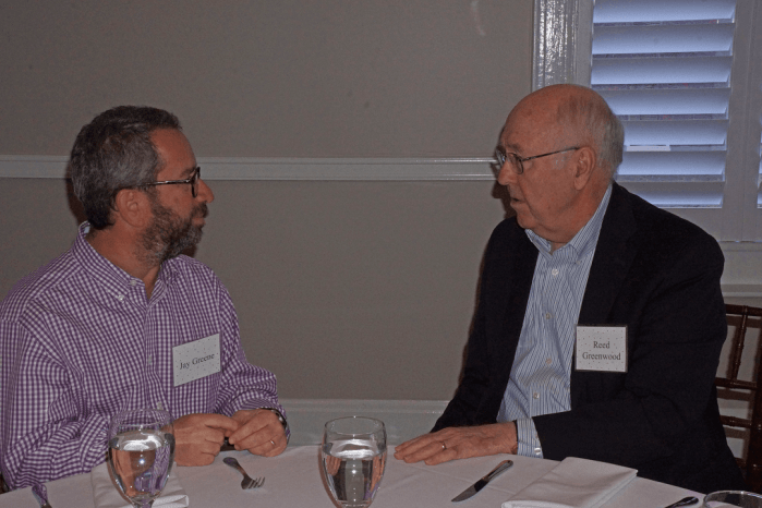 Jay Greene (left) and former Dean Reed Greenwood at the Dec. 10, 2018, Retired Faculty Luncheon