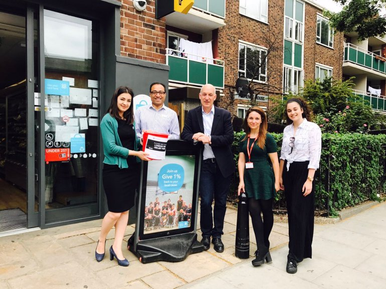 Director of Community and Campaigns Rufus Olins with colleagues Victoria and Muhammad at Notting Hill Co-op