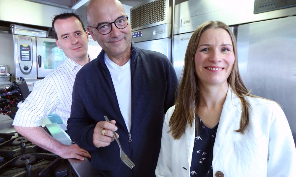 Masterchef's Greg Wallace with Co-op Product Developer Paul Dempsey and factory technical controller Jane Reeve