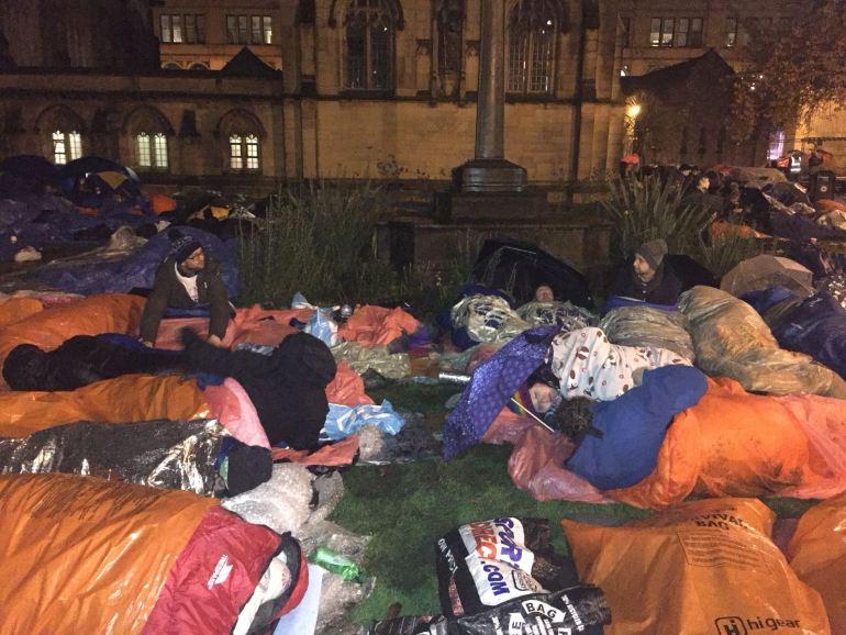 Lots of people in sleeping bags