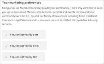 Picture of a clear simple consent note on Co-op website