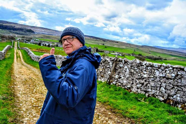 Phil Turner, who recently had a stroke, walking the last couple of miles of the Yorkshire Three Peak Challenge