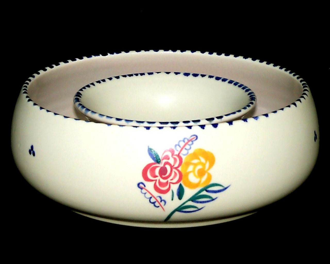 Poole Pottery FLORIANA SPRIG Decorated Hand Painted Posy Ring KW Design 188 Pool Pottery