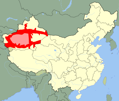 Majority Uyghur-speaking areas are shown in red. The pink areas are largely uninhabited but are assumed to be Uyghur-speaking as well.