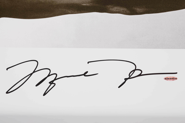 lot detail michael jordan signed wings 72x23 framed poster uda