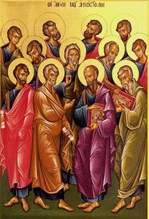Greek icon of the Twelve Apostles (in the fron...