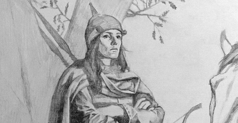 Sketch of Viking Women Warrior
