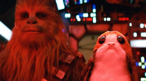 Star Wars: The Last JediL to R: Chewbacca (Joonas Suotamo) and a Porg
