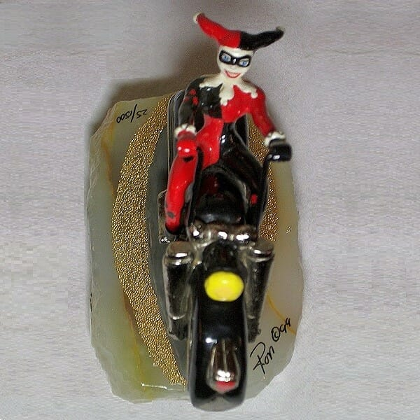 Harley Quinn On Motorcycle Figurine top view
