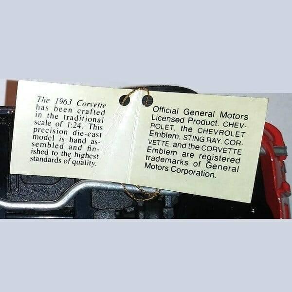 1963 Stingray Corvette Model tag close up