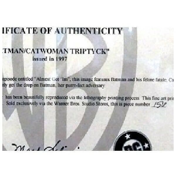 Batman Catwoman Triptych Art authenticity certificate close up