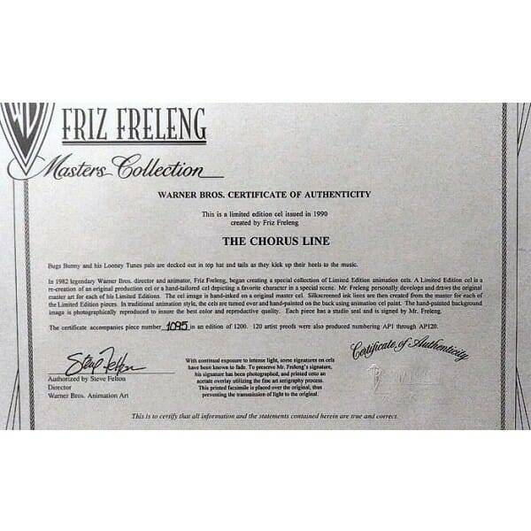 Looney Tunes Chorus Line Friz Freleng Cel authenticity certificate close up 1