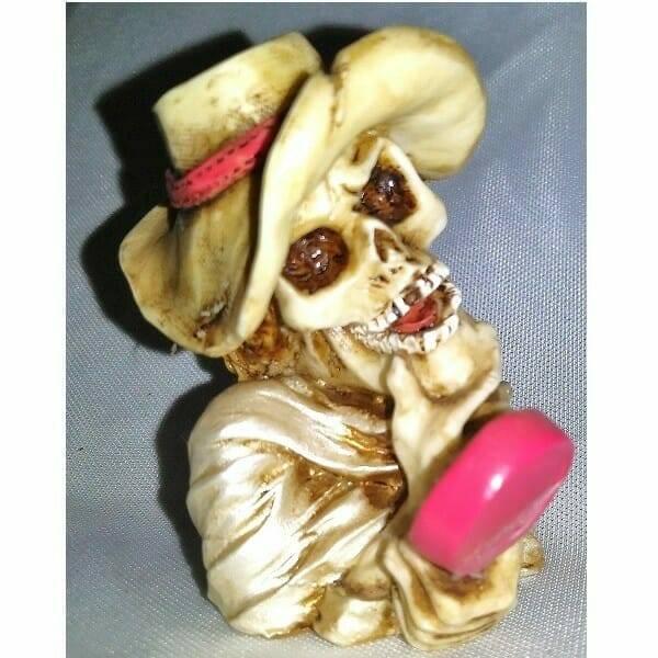Skeleton Admires Herself Bust Figurine side view
