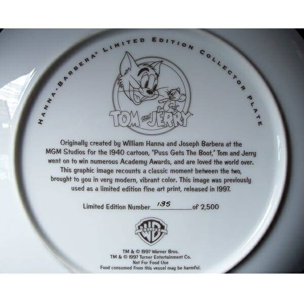 Tom and Jerry Plate back view close up