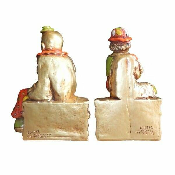 Vintage Traveling Clowns Bookends back view
