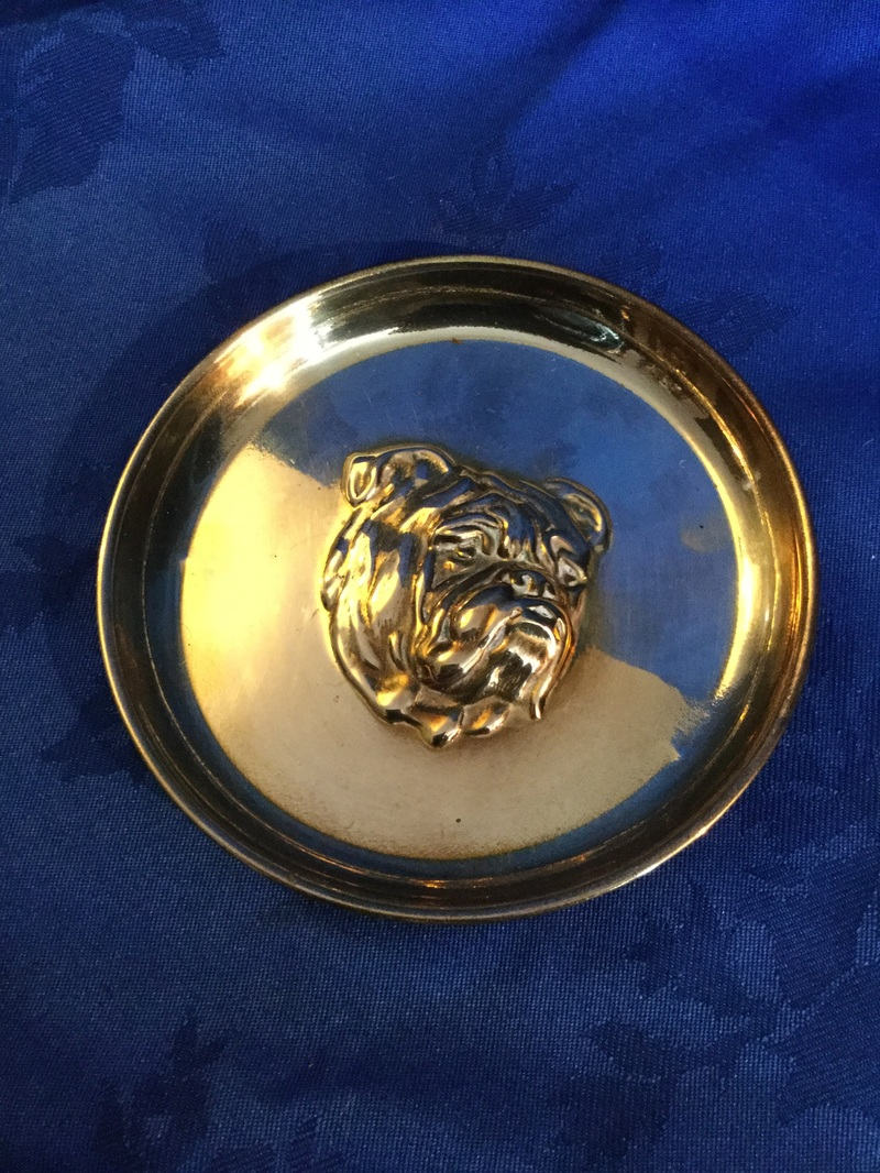 Collections within the Collectibulldogs collection Brass pin dish with chased out bulldog head