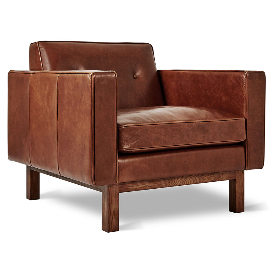 Modern Leather Chairs Embassy Chair Saddle Brown Leather