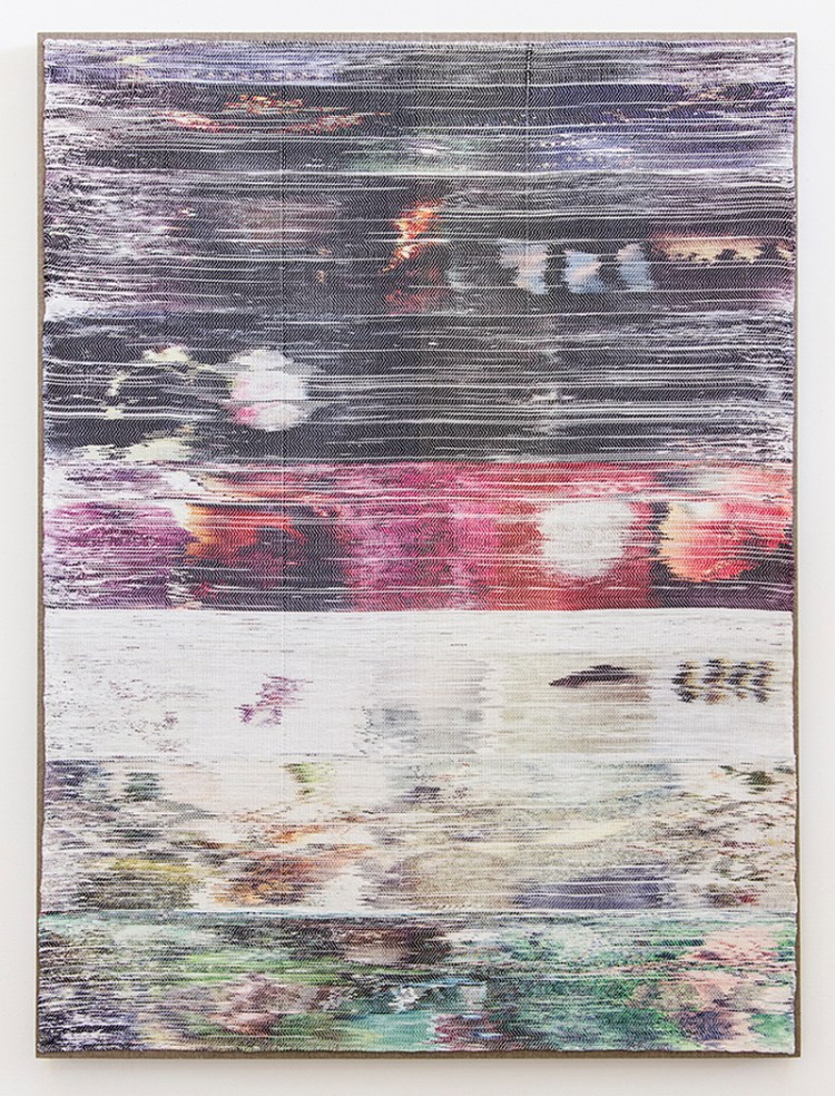 Margo Wolowiec - Black, Magenta, Green on White, 2013, Handwoven polyester, cotton, dye sublimation ink.