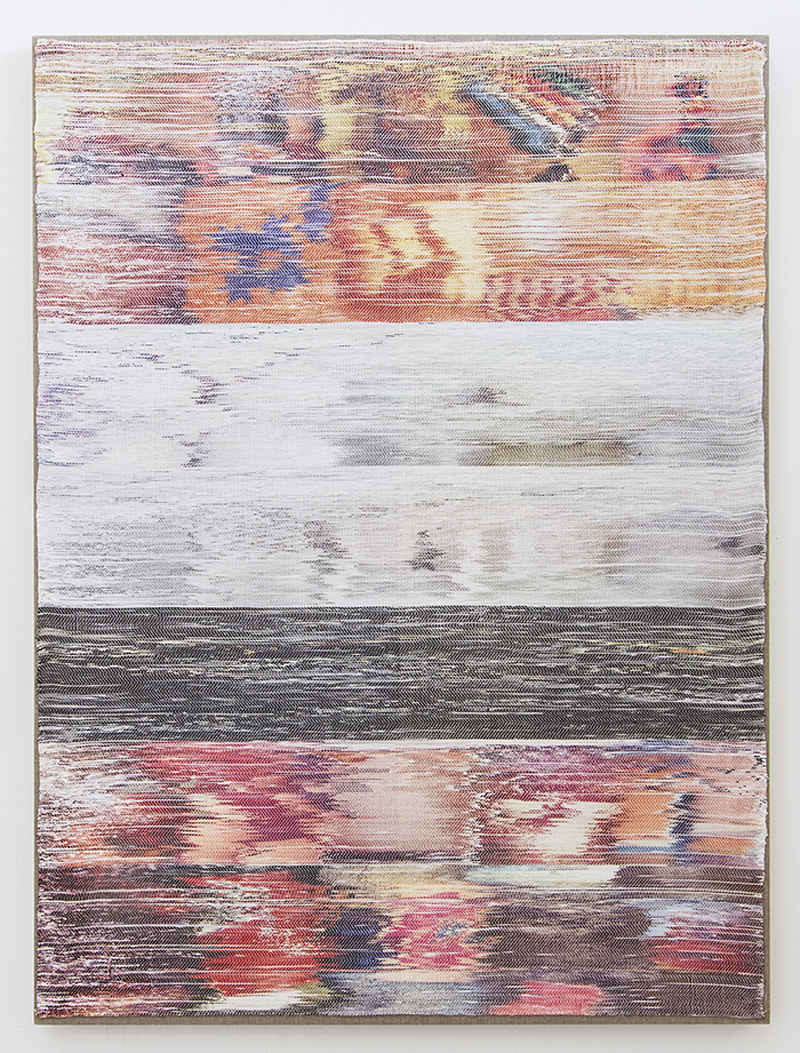 Margo Wolowiec - Orange, Black, Red on White, 2013, Handwoven polyester, cotton, dye sublimation ink.