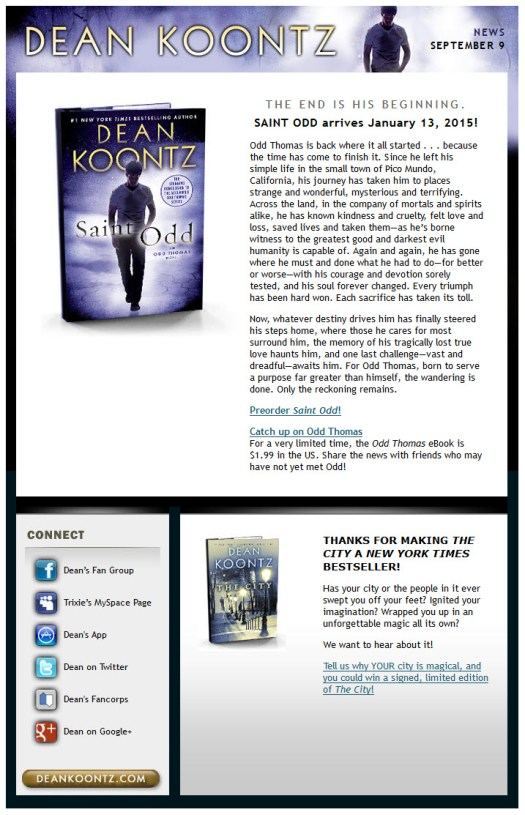 2014.09.09 Dean Koontz Newsletter