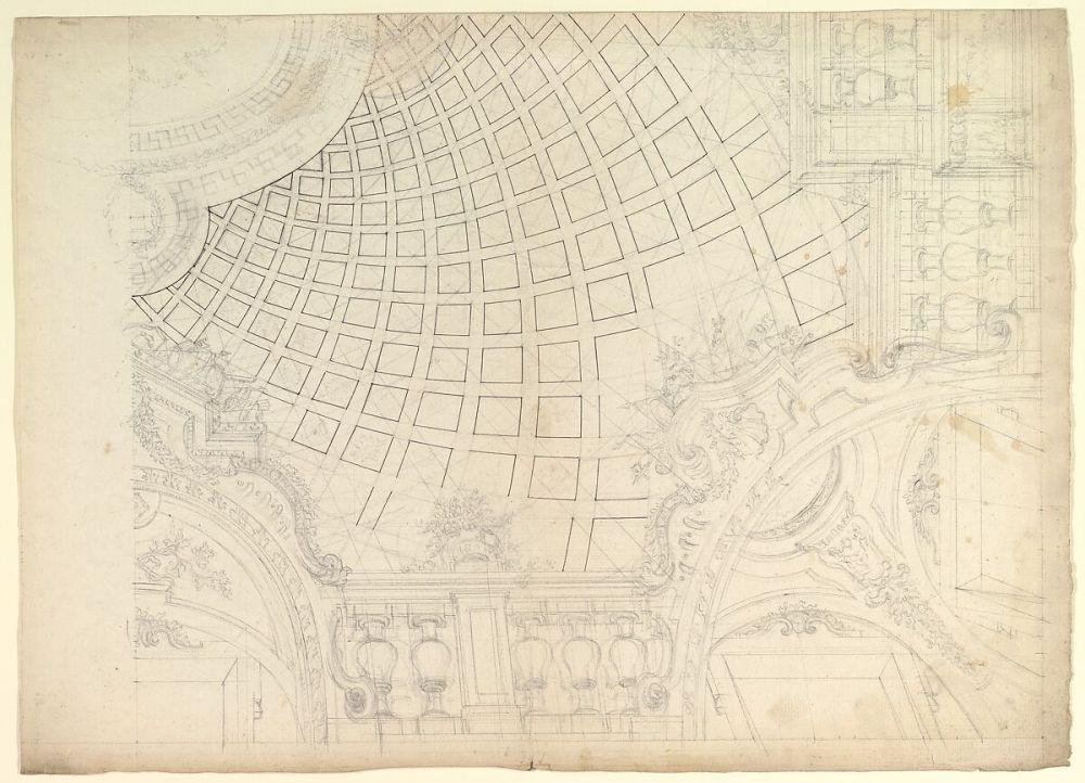 medium resolution of design of a quarter of cupola anonymous italian piedmontese 18th century