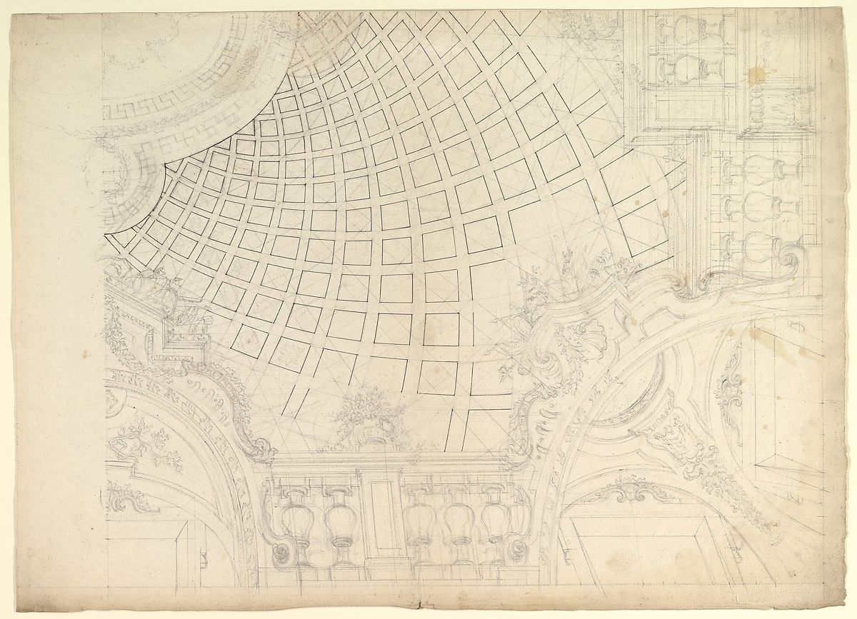 hight resolution of design of a quarter of cupola anonymous italian piedmontese 18th century