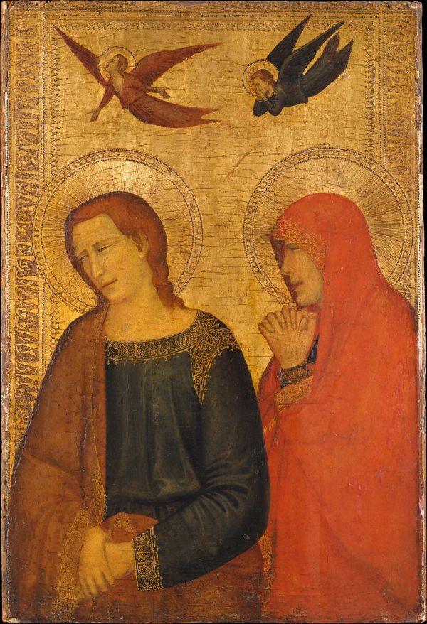 Italian Neapolitan Follower Of Giotto Saints John Evangelist And Mary Magdalene Met