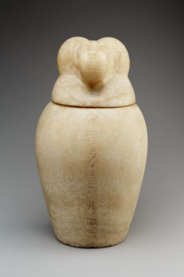 Canopic Jar With Baboon-headed Lid Hapy Late Period