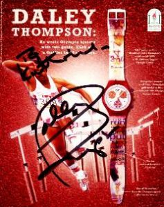 1997 Lausanne olympic fair, postcard signed by Daley Thompson