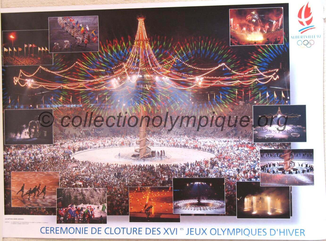 1992 Albertville Olympic Poster Closing Ceremony 50 X 70 cm