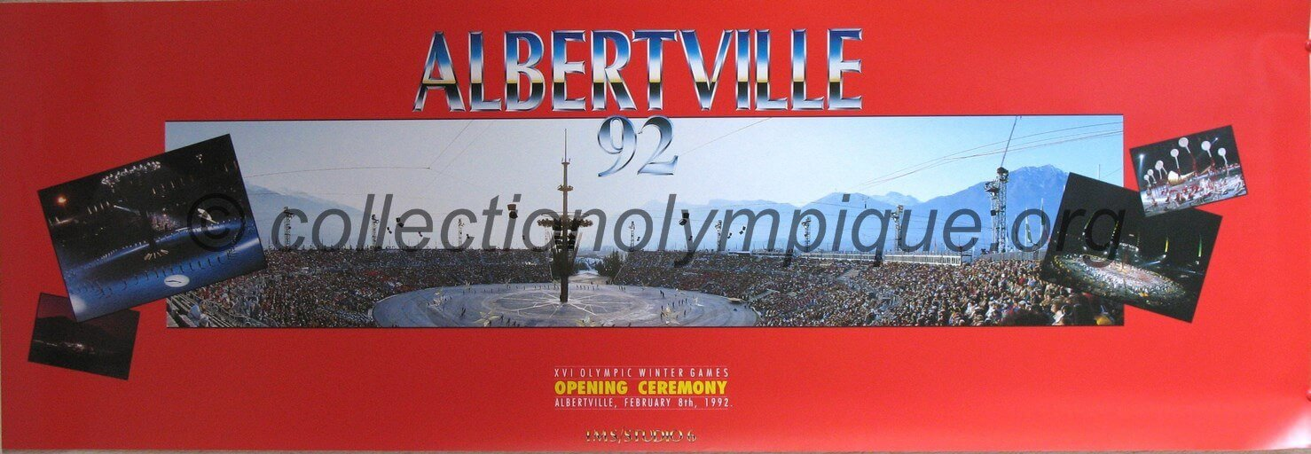 1992 Albertville Olympic Poster Opening Ceremony 34.5 x 100.5 cm