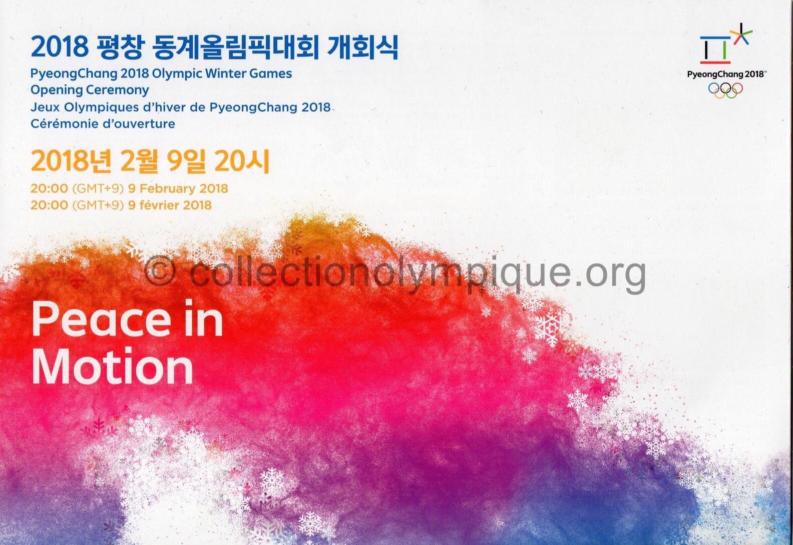 2018 PyeongChang programme olympique de la cérémonie d'ouverture 09/02/2018 27 x 18,8 cm