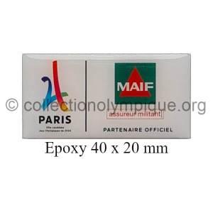 2024 Paris bid pin sponsor MAIF epoxy 40 x 20 mm