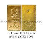 07 01 Club Coubertin pin's Candia 3D doré 31 x 17 mm signé n°3 © COJO 1991