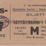 1912 Stockholm billet olympique équitation, 17/07/1912, recto 12,2 x 6,7 cm