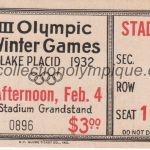 1932 Lake Placid billet olympique cérémonie d'ouverture, 04/02/1932 13,9 x 6,4 cm